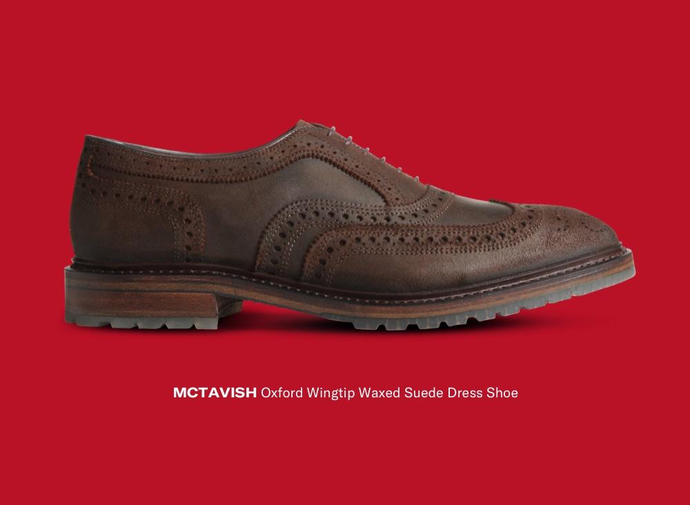 Shop McTavish Oxford Wingtip Waxed Suede Dress Shoe