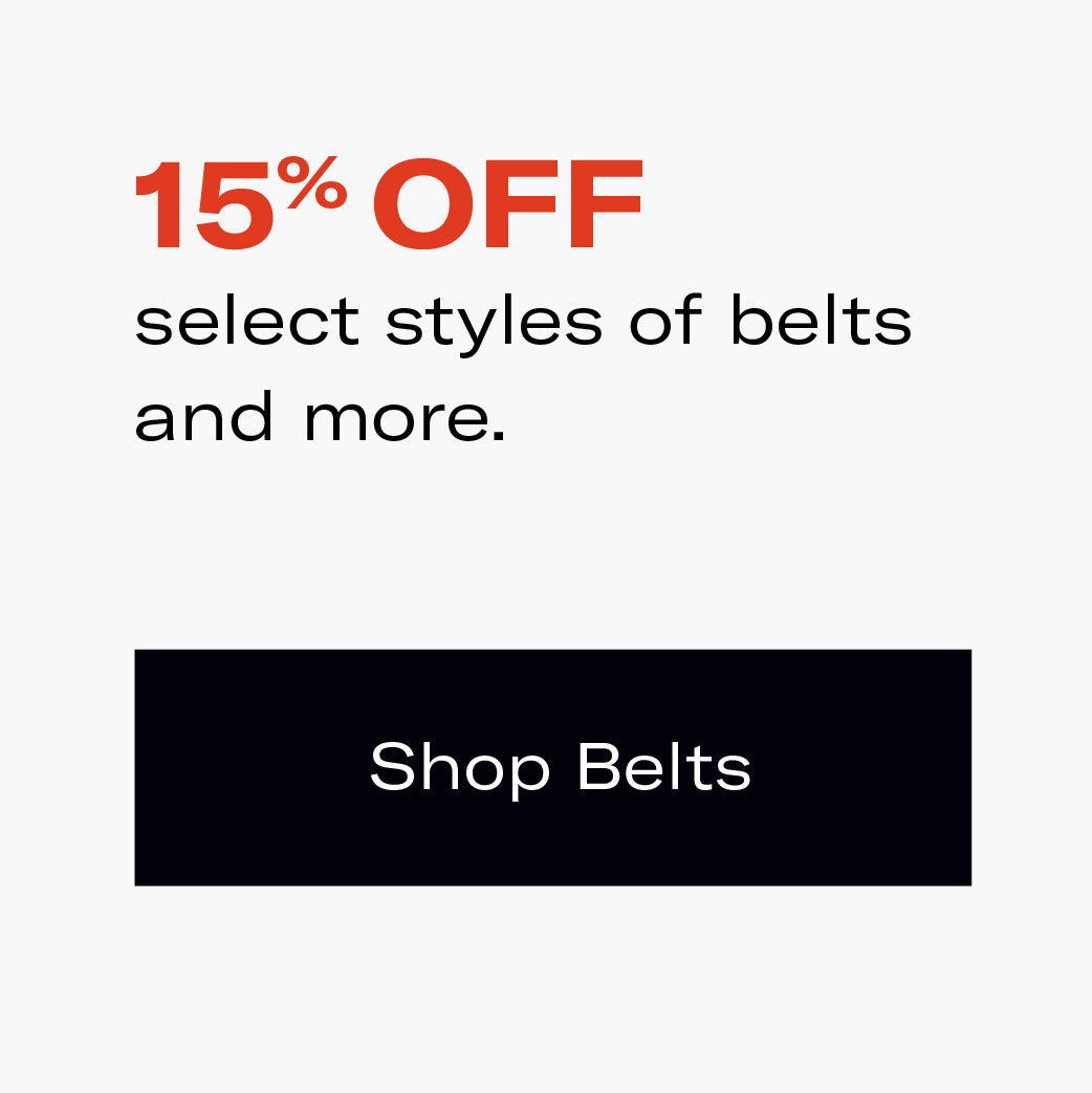 Save on Selected Styles of Belts